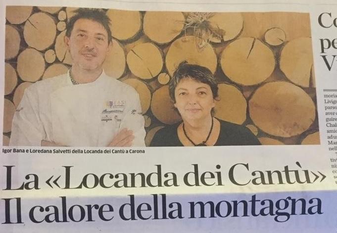 Articolo l'Eco di Bergamo - Locanda dei Cantù